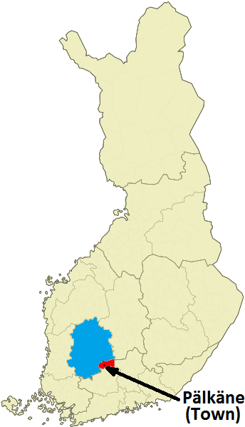 showing where pälkäne is in the map of Finland